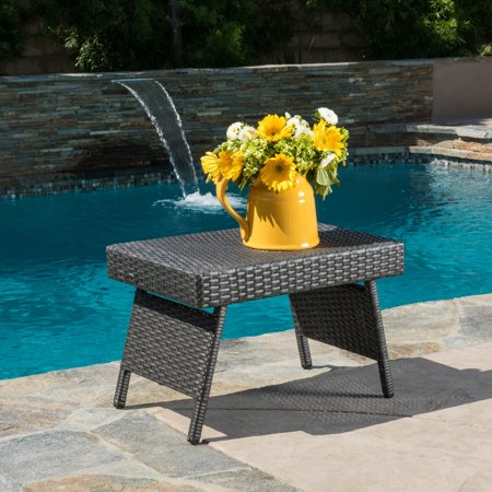 Anthony Outdoor Wicker Adjustable Accent Folding Table, Grey