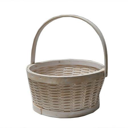 White Woodchip Swing Handle Basket - Medium 10in ()