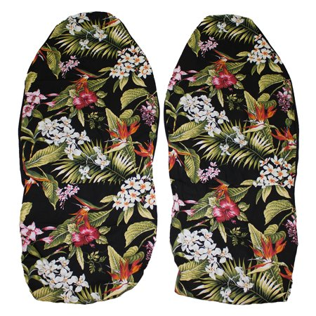 Hawaiian Car Seat Covers, Black and Pink Red Flower, Set of 2 Front Bucket seat covers, Made in Hawaii USA