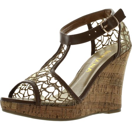 Diviana Womens KEALIE-25 Sheer Mesh Cork Platform Ankle Strap Wedge Sandals - Mesh Wedge Sandals