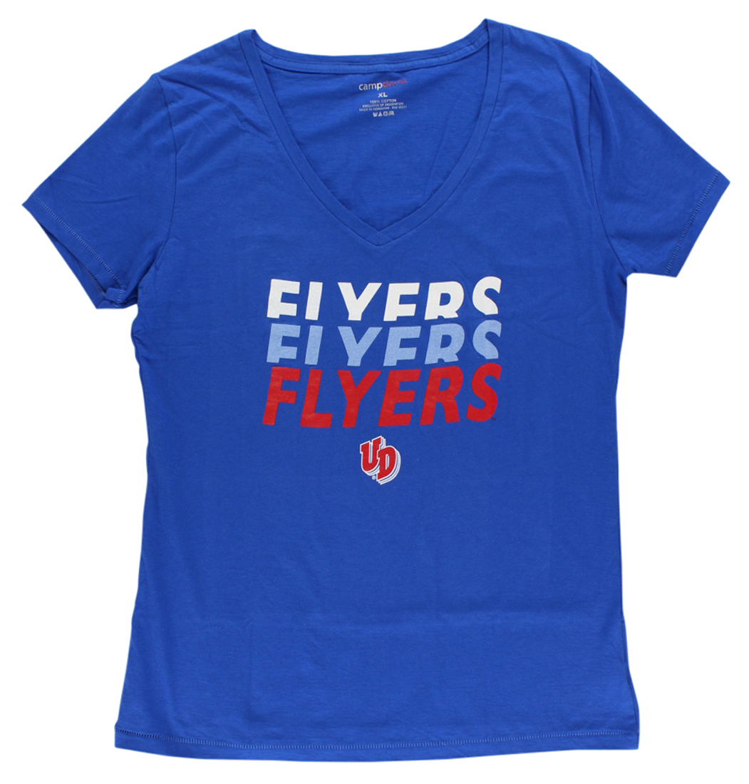 Camp David Womens Dayton Flyers College Emma V Neck T Shirt Royal Blue