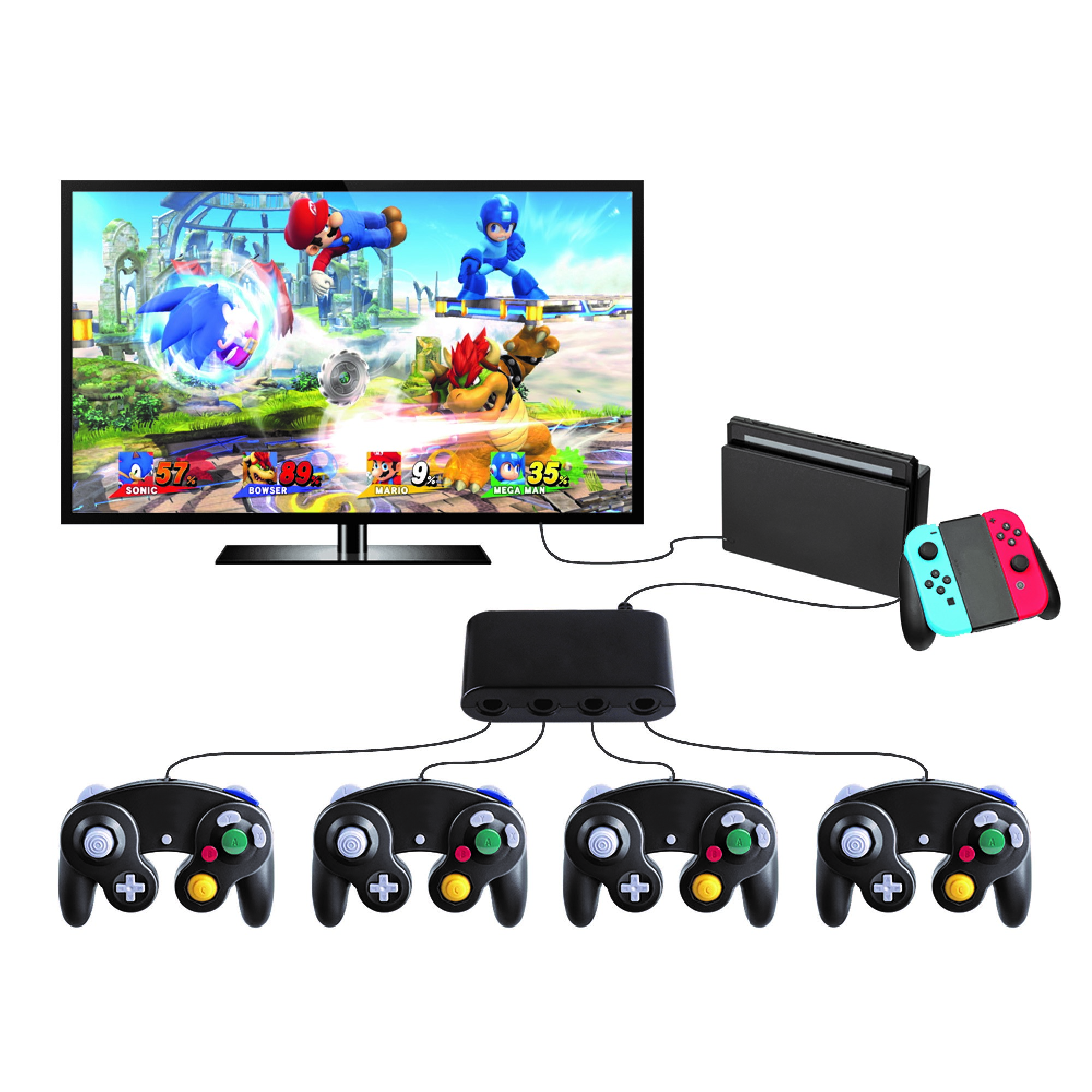 Ematic Nintendo Switch, Game Cube Controller Adapter, Black, EGCN152