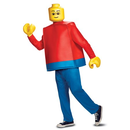 Mens Deluxe Lego Guy Costume Standard Size - Fat Guy Costumes