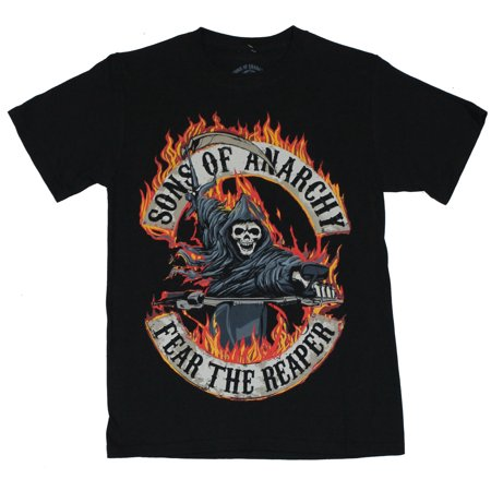 Sons of Anarchy Mens T-Shirt  - Fear the Reaper Flaming Biker Reaper