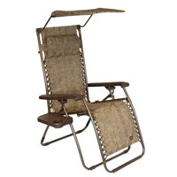 """26"""" Wide Gravity Free/ Anti Gravity Recliner with Canopy - Brown Jacquard"""