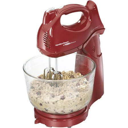 Hamilton Beach 6-Speed Power Deluxe 4 Quart Hand & Stand Mixer, Red | Model# (Best Stand Mixer For The Money)