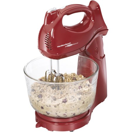 Hamilton Beach 6-Speed Power Deluxe 4 Quart Hand & Stand Mixer, Red | Model#