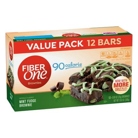 Fiber One Brownies 90 Calorie Mint Fudge Brownie 12 Fiber Bars 10.6 oz