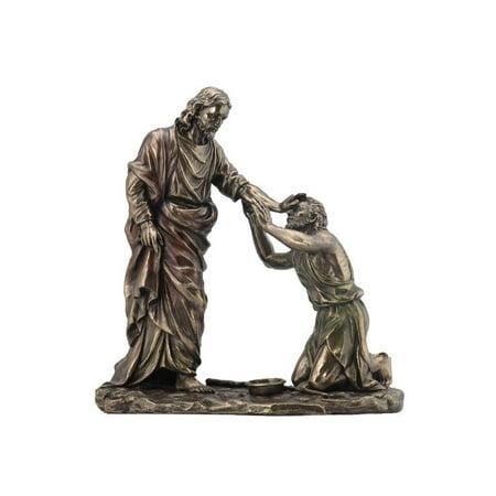 Jesus Healing Blind Man  - Religious Sculpture - Jesus Heals The Blind Man