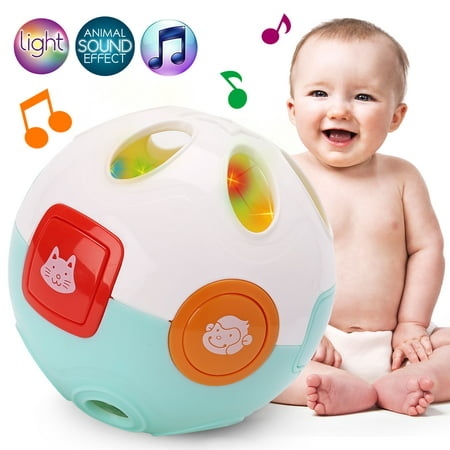 Baby Rolling Crawling Moving Learning Ball with Animals Sounds, Light and Music - Crawl Rattle Ball Toy for Infant Toddler
