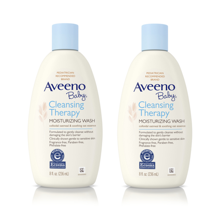 - (2 Pack) Aveeno Baby Cleansing Therapy Moisturizing & Soothing Wash, 8 fl. oz