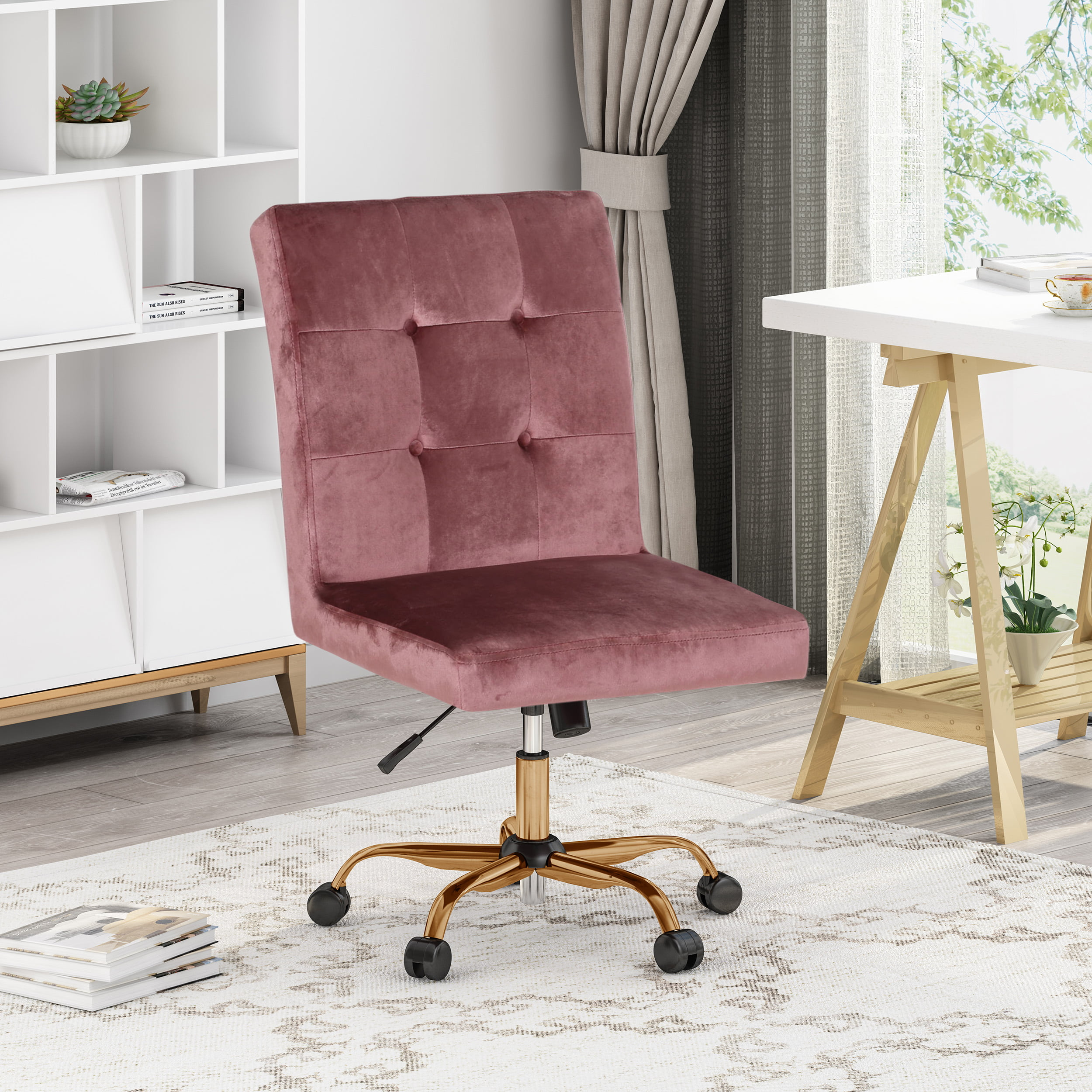 Theodore Glam Tufted Home Office Chair With Swivel Base Blush And Rose Gold Finish Walmart Com Walmart Com