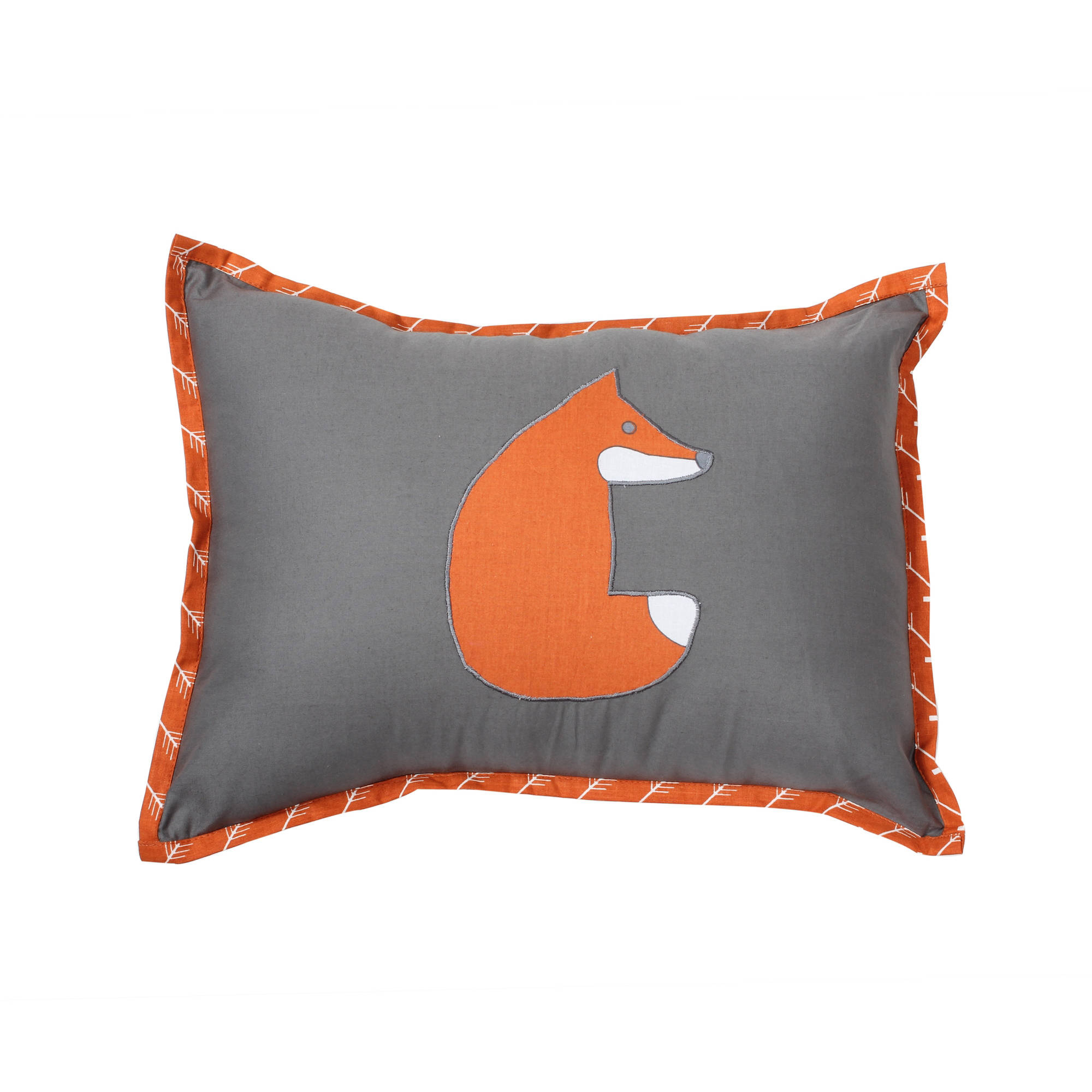 Bacati Playful Fox Orange Grey Dec Pillow 12 x 16 inches with removable 100% Cotton cover... by Bacati