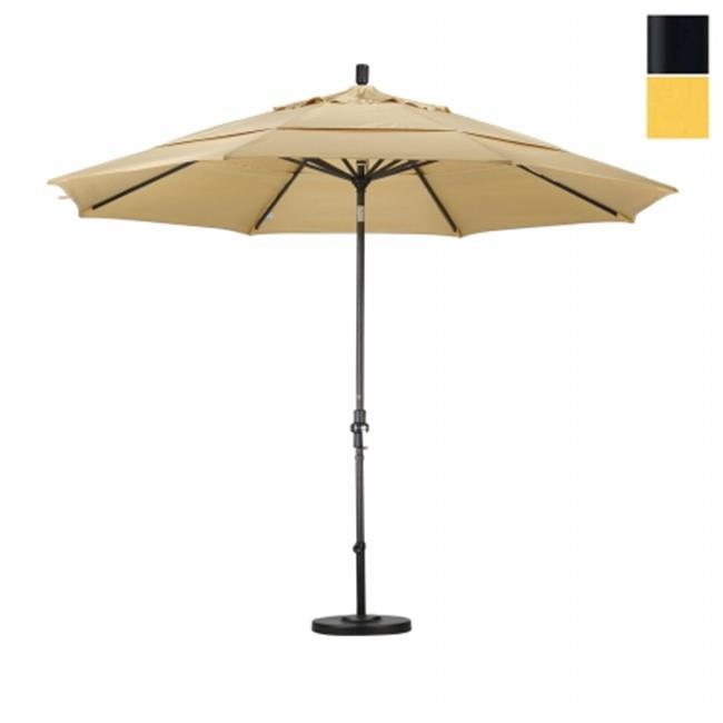 California Umbrella GSCU118302-5435-DWV 11 ft.  Aluminum Market Umbrella Collar Tilt DV Matted Black-Sunbrella-Cornsilk