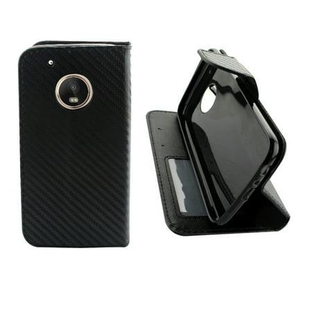 ∞ for Motorola G5 PLUS moto G5PLUS XT1685 XT1687 Case PU Leather Fold Kickstand Wallet Card Pocket Flip Pouch Carbon Blk ∞