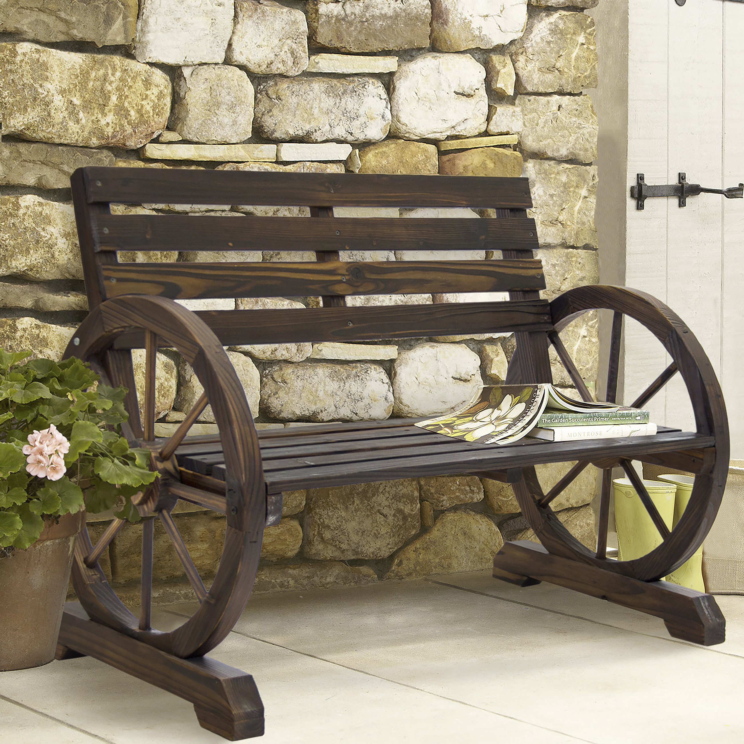 Skytel BCP Patio Garden Wooden Wagon Wheel Bench Rustic W...