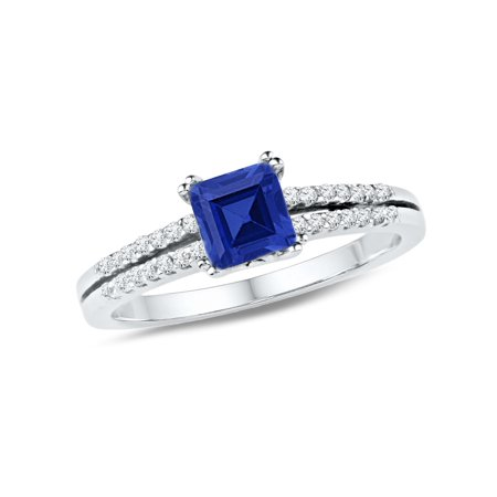 Ladies Lab Created Blue Sapphire 3/4 Carat (ctw) Ring in 10K White Gold with Diamonds 1/6 Carat - Cts Lab