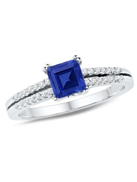 Ladies Lab Created Blue Sapphire 3/4 Carat (ctw) Ring in 10K White Gold with Diamonds 1/6 Carat (ctw)