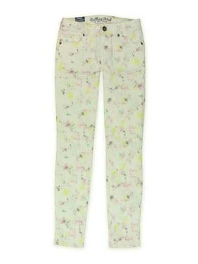 Bullhead Denim Co. Womens Galaxy Splash Skinny Fit Jeans, Off-White, 5