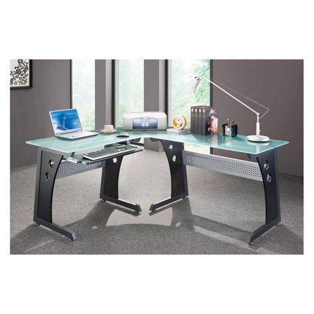 techni mobili l shaped glass top computer desk graphite. Black Bedroom Furniture Sets. Home Design Ideas