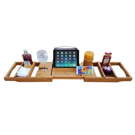 655dbb84f1b52 Purvae Luxury Bathtub Caddy, Natural Organic Bamboo Wood Tub Organizer with  Reading Tray Or Book and Tablet Holder, Extending Sides, Wine Glass, Fits  ...