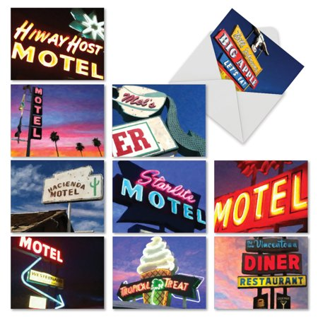 M6557OCB ROAD SIGNS' 10 Assorted All Occasions Cards Featuring Funky Stylized Images of Neon Signs Seen During a Road Trip with Envelopes by The Best Card