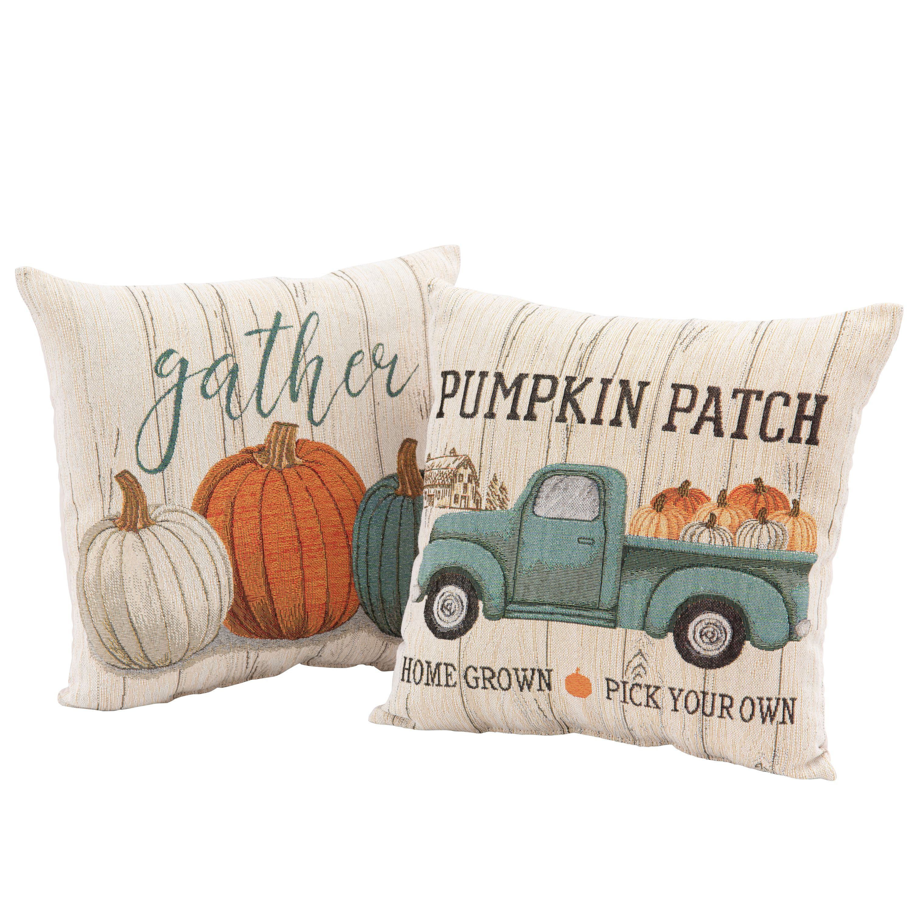 Mainstays Pumpkin Patch Decorative Throw Pillows 17 X 17 2 Pack Harvest Walmart Com Walmart Com