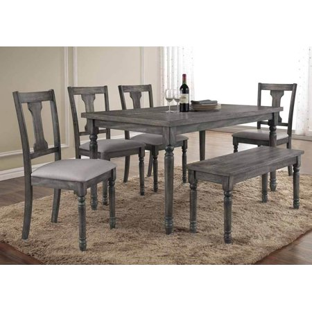 Tremendous Simple Relax Wallace 6 Pcs Rectangular Dining Table Set Padded Chair Weathered Blue Washed Creativecarmelina Interior Chair Design Creativecarmelinacom