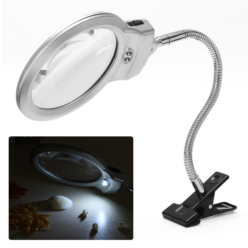 2.5X 5X Desktop LED Lamp Flexible Hose Magnifier Magnifying Glass Clamp On Table for Jewelry Reading Repairing