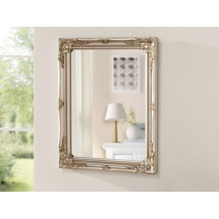 Antique silver rectangular wall mirror baroque for Rectangular baroque mirror