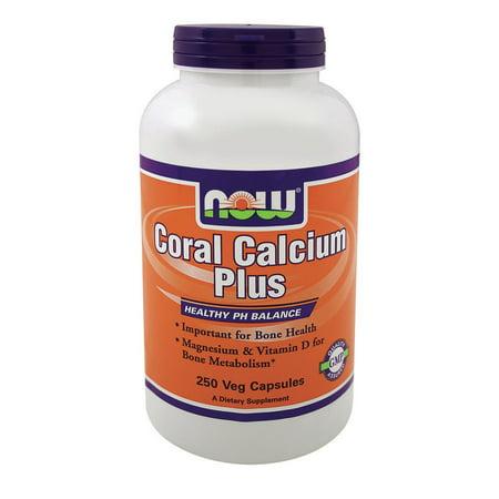 Coral Calcium Plus Magnesium and Vitamin D Now Foods 250 VCaps
