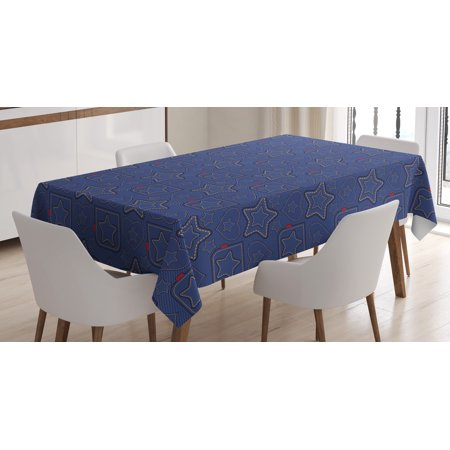Star Tablecloth, Denim Style Pattern with Hearts and Geometric Motifs on Stripes Background, Rectangular Table Cover for Dining Room Kitchen, 60 X 84 Inches, Navy Blue Marigold Red, by Ambesonne
