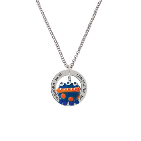 Dot Mother Of Pearl Ring - Resin Blue Monster with Orange Dots Longhorn Mom Affirmation Ring Necklace