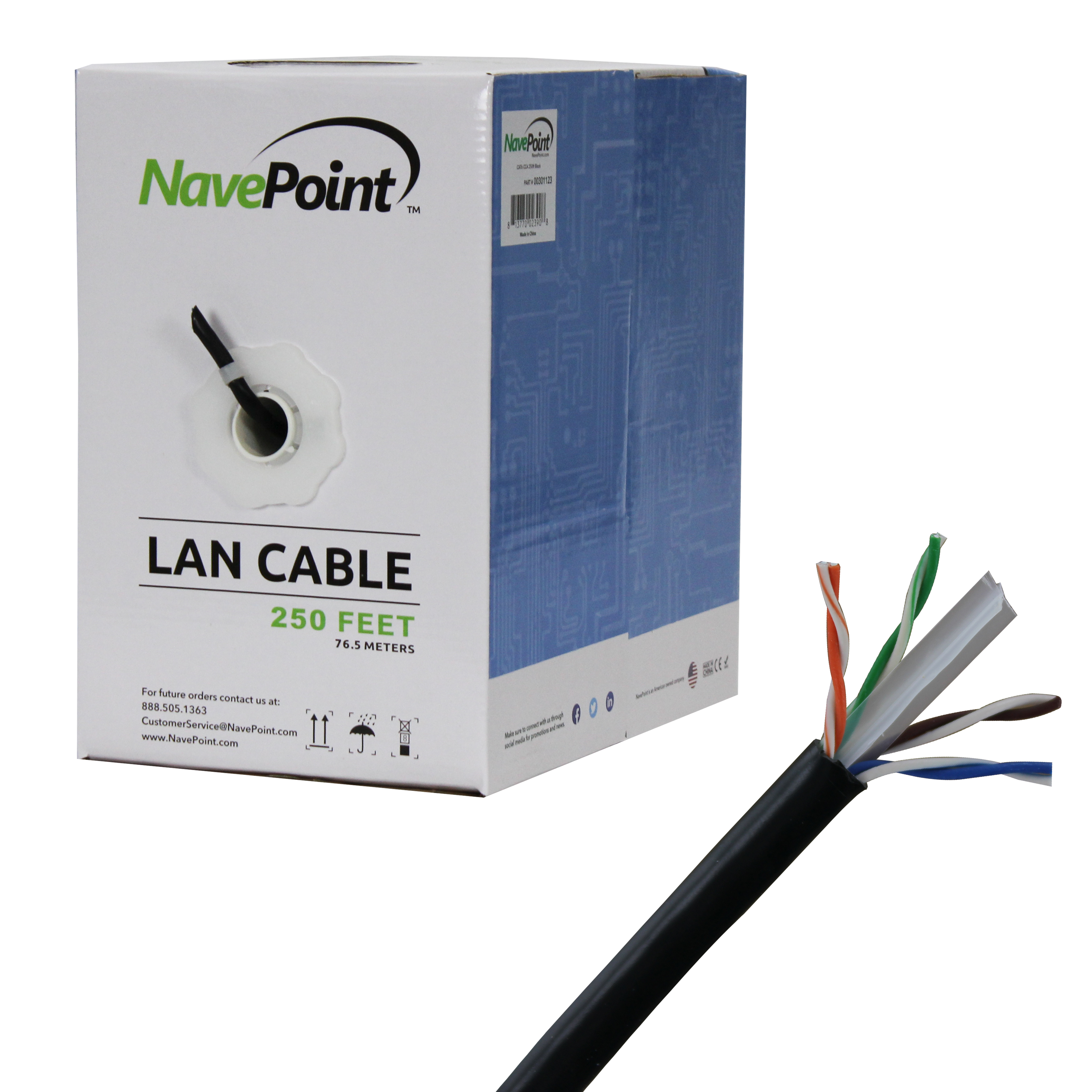 250ft Unshielded Twisted Pair CCA 24AWG 4 Pair UTP NavePoint CAT5e Solid Bulk Ethernet Cable Black
