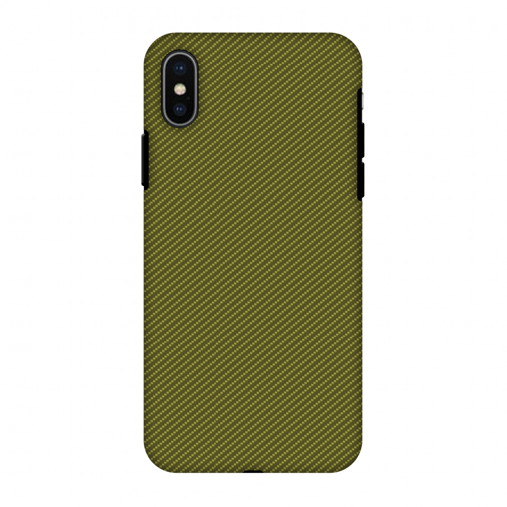 iPhone X Case, Premium Heavy Duty Dual Layer Handcrafted Designer Case ShockProof Protective Cover with Screen Cleaning Kit for iPhone X - Golden Lime Texture, Flexible TPU, Hard Shell