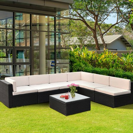 Gymax Patio Garden 7PC Furniture Set Rattan Wicker - image 6 of 10