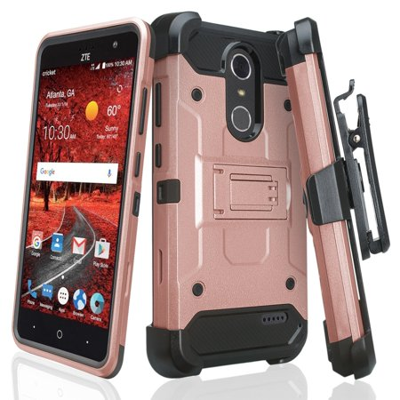 new concept 7ea02 8d181 ZTE Grand X4 Case, ZTE Blade Spark Z971 Cover, Rugged Hybrid [Swivel Belt  Clip] Holster Protector Case [Kickstand] for Grand X 4 - Rose Gold
