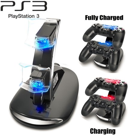 Ps3 Stand - PS3 Playstation 3 Controller Charger, TSV Dual Console Charger Charging Docking Station Stand for Playstation 3 PS3 with LED Indicators, Black
