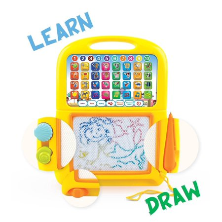 Learning Tablet + Magnetic Drawing Pad by Boxiki Kids. Toddler Musical Toy w/ Kids' Learning Games. Educational Toy for Child Development. Learn Numbers, ABC Learning, Spelling Games, Musical Tunes - Children Learning Games
