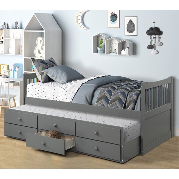 Twin Bed Frame on Clearance, Kids Captain's Bed with Trundle Bed