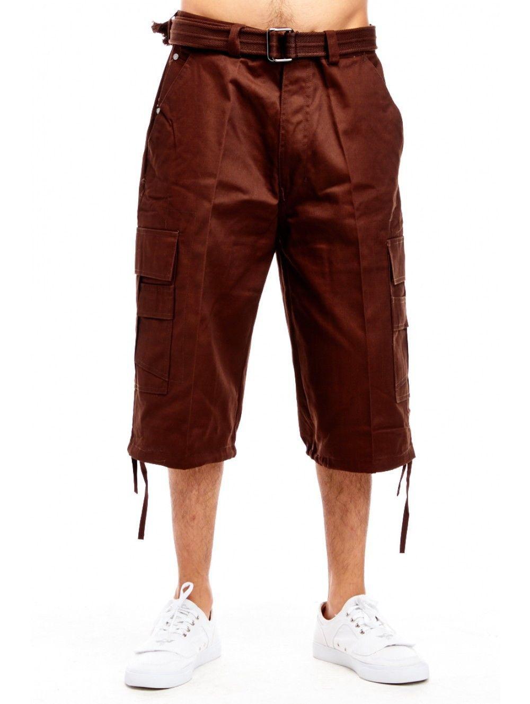 Mens Basic Belted Hip Hop Long Cargo Shorts P210AS-30-Black
