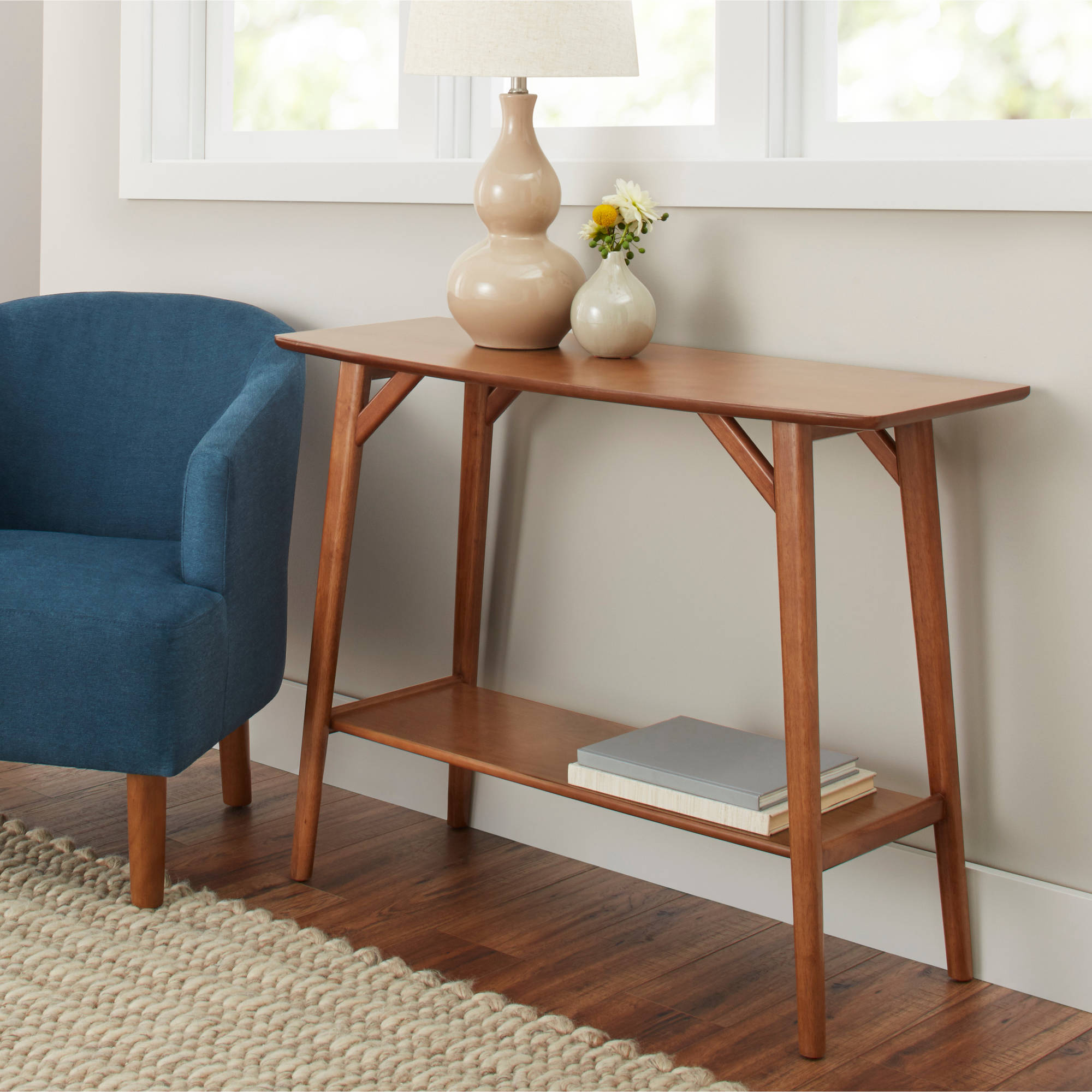 Better Homes & Gardens Reed Mid-Century Modern Console Table, Pecan -  Walmart.com
