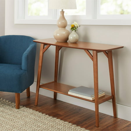 Better Homes Gardens Reed Mid Century Modern Console Table Pecan