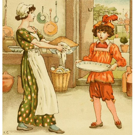 An April Babys Book of Tunes 1900 Sing a song of sixpence Canvas Art - Kate Greenaway (18 x 24)