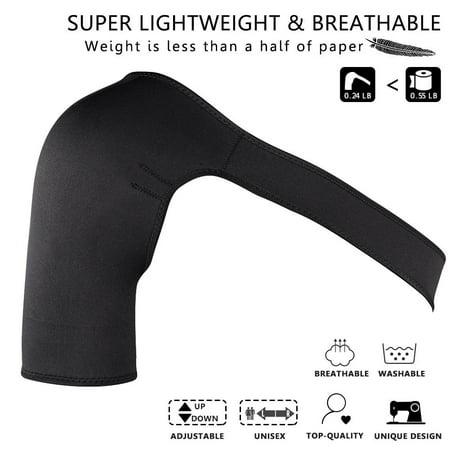 Hilitand Shoulder Brace Adjustable Shoulder Support Brace Strap Sport Gym Compression Fits Left or Right Shoulder for Women&Men Black