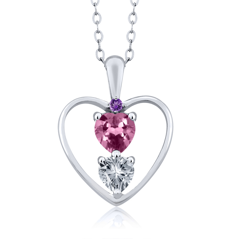 0.69 Ct Pink Tourmaline With Diamond Accent 18K White Gold Heart Pendant by