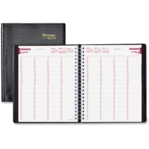 "Brownline Essential 4-person Appointment Book - Daily - 11"" X 8.50""20122012 - 7:00 Am To 8:45 Pm - Paper - Black (cb960-blk)"