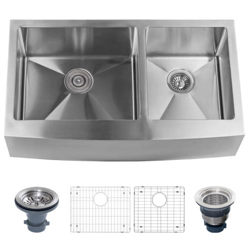 """Miseno MSS3620F6040 Farmhouse 36"""" Double Basin Stainless Steel Kitchen Sink with"""
