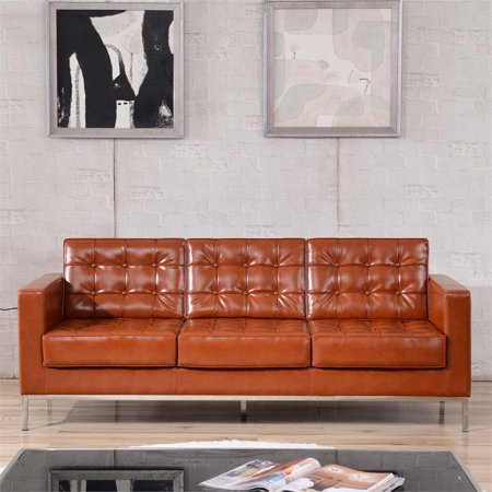 Excellent Flash Furniture Hercules Lacey Series Contemporary Cognac Leather Sofa With Stainless Steel Frame Gmtry Best Dining Table And Chair Ideas Images Gmtryco