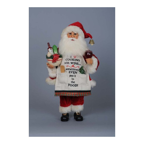The Holiday Aisle Christmas Cooking with Wine Santa Figurine
